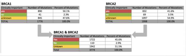 BRCA mutation counts